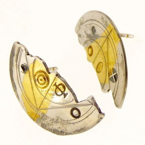 Silver and 24 carat gold Keum boo scribed halved ear studs